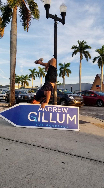 Sign Spinner for Andrew Gillum