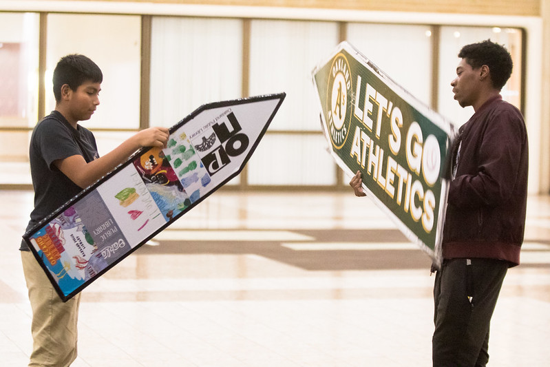 Oakland Sign Spinning Workshop with McKinley and Oakland A's