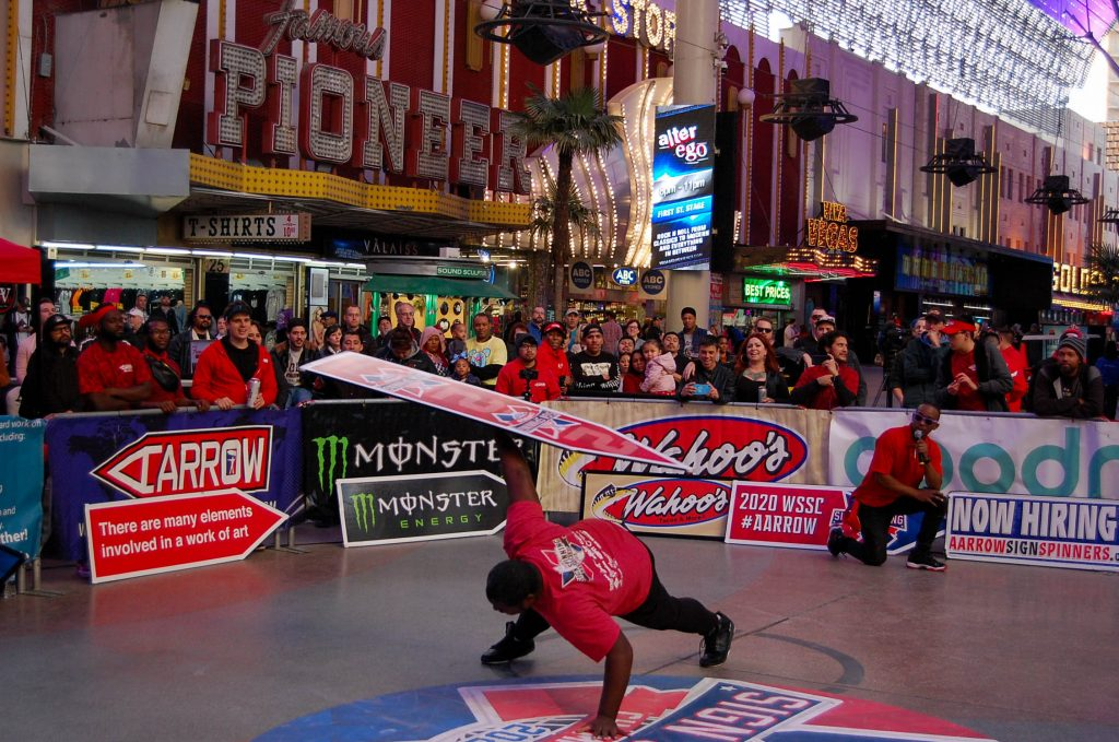 """Jimmel performing """"The Hardest Man Working"""" at the 2020 World Sign Spinning Championship in Las Vegas!"""