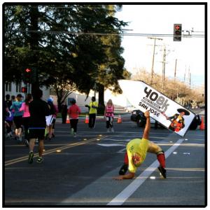 Sign Spinner at a Marathon