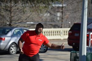 Jimmel Big Tex Martin Spinning Signs in Houston